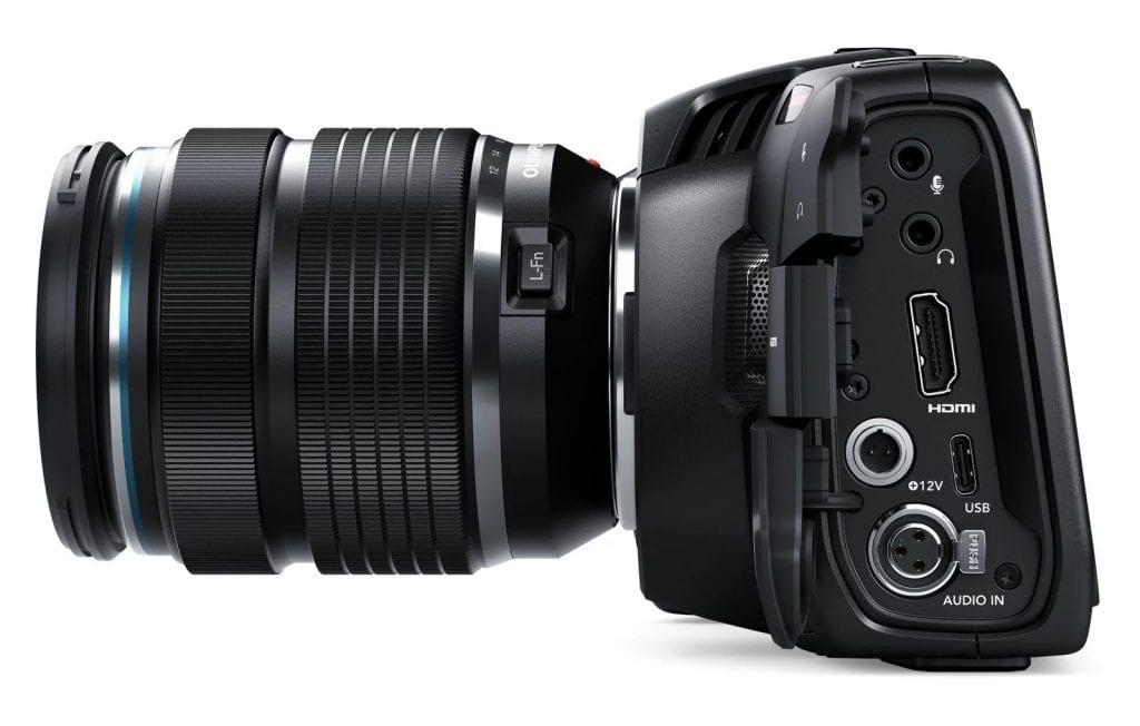 Blackmagic 4K Pocket Cinema Cameran liitännät.