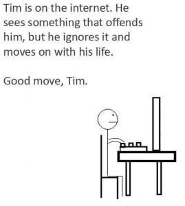 Tim käyttää internettiä ja ei triggeröidy. Hyvä homma Tim.