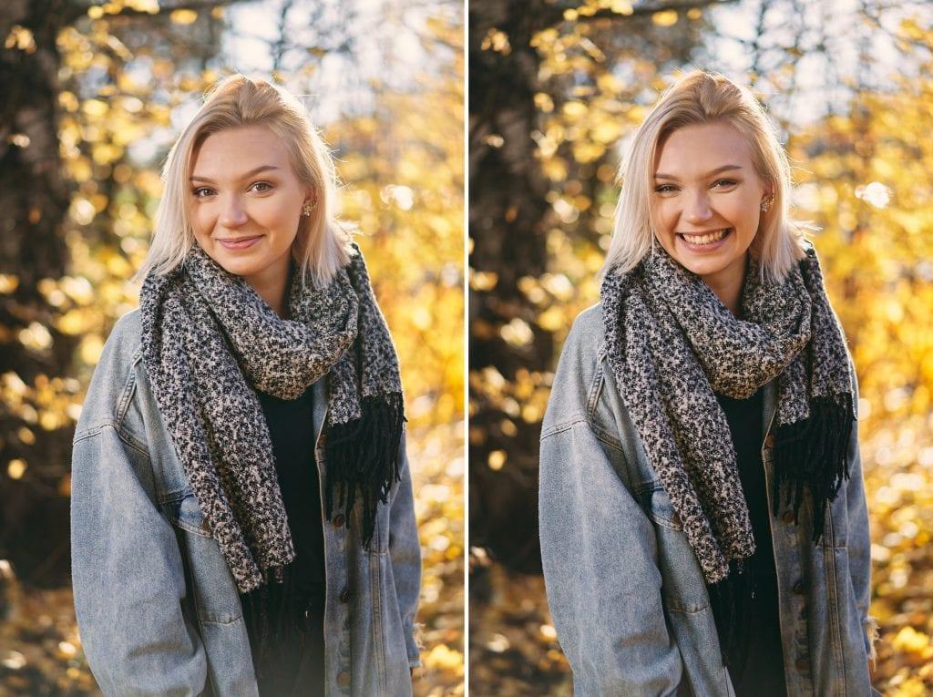 Hymyilevä tyttö syysmaisemassa