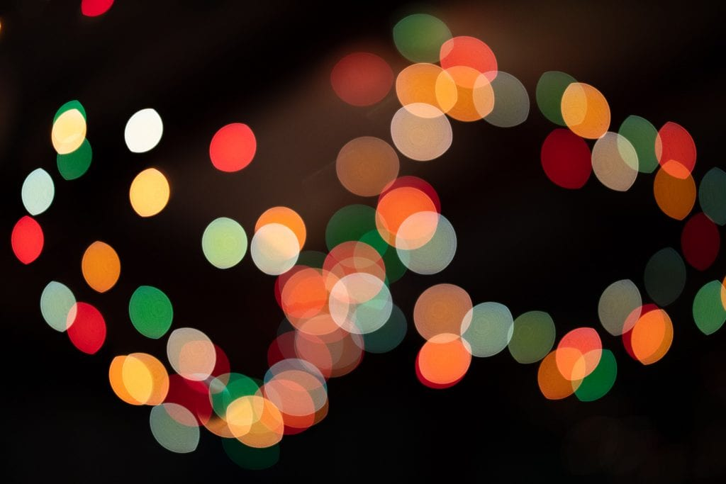 Christmas light and visible onion ring effect on bokeh with Canon 50mm F/1.2 L USM lens