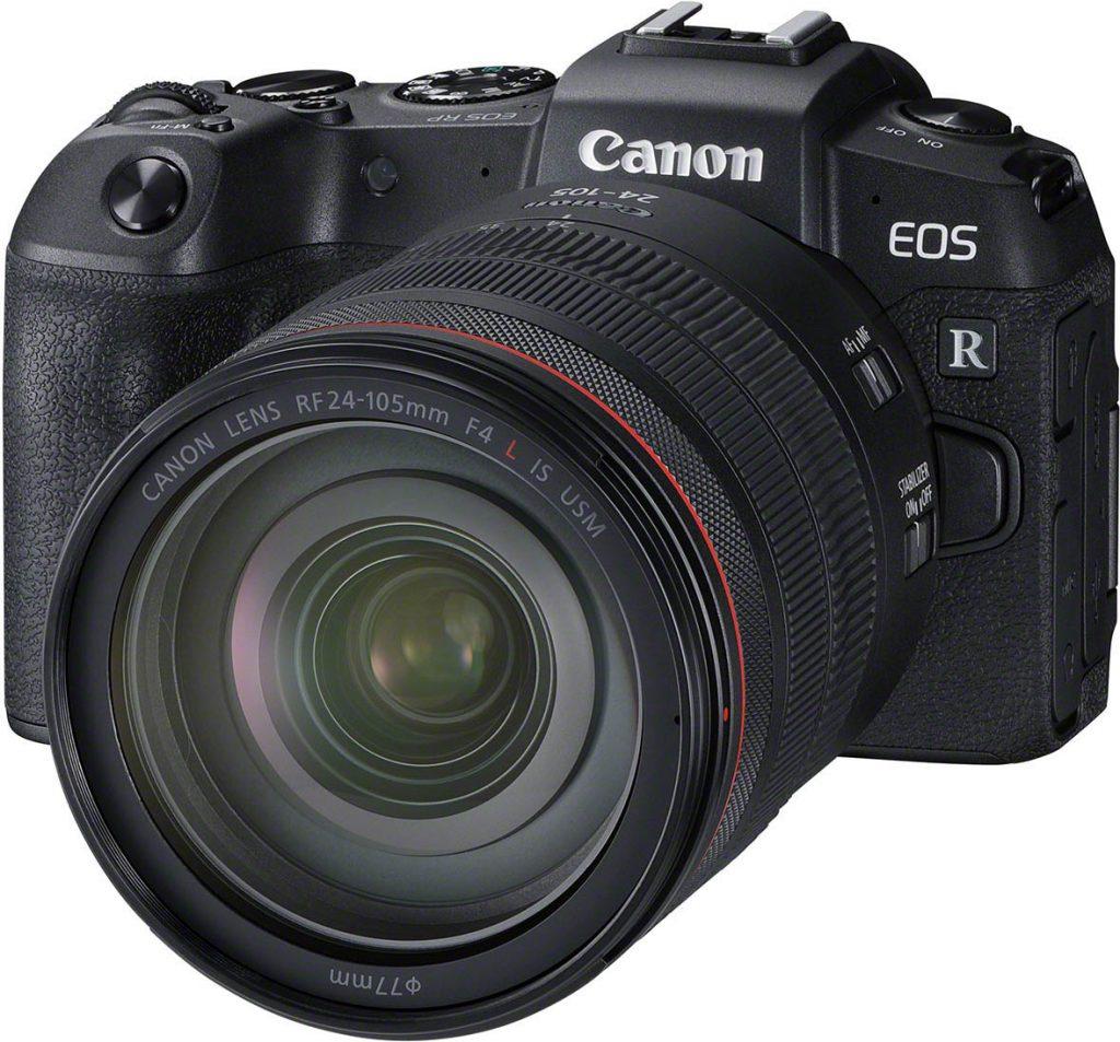 Canon EOS RP edestä Canon RF 24-104 f/4L IS -objektiivin kanssa.